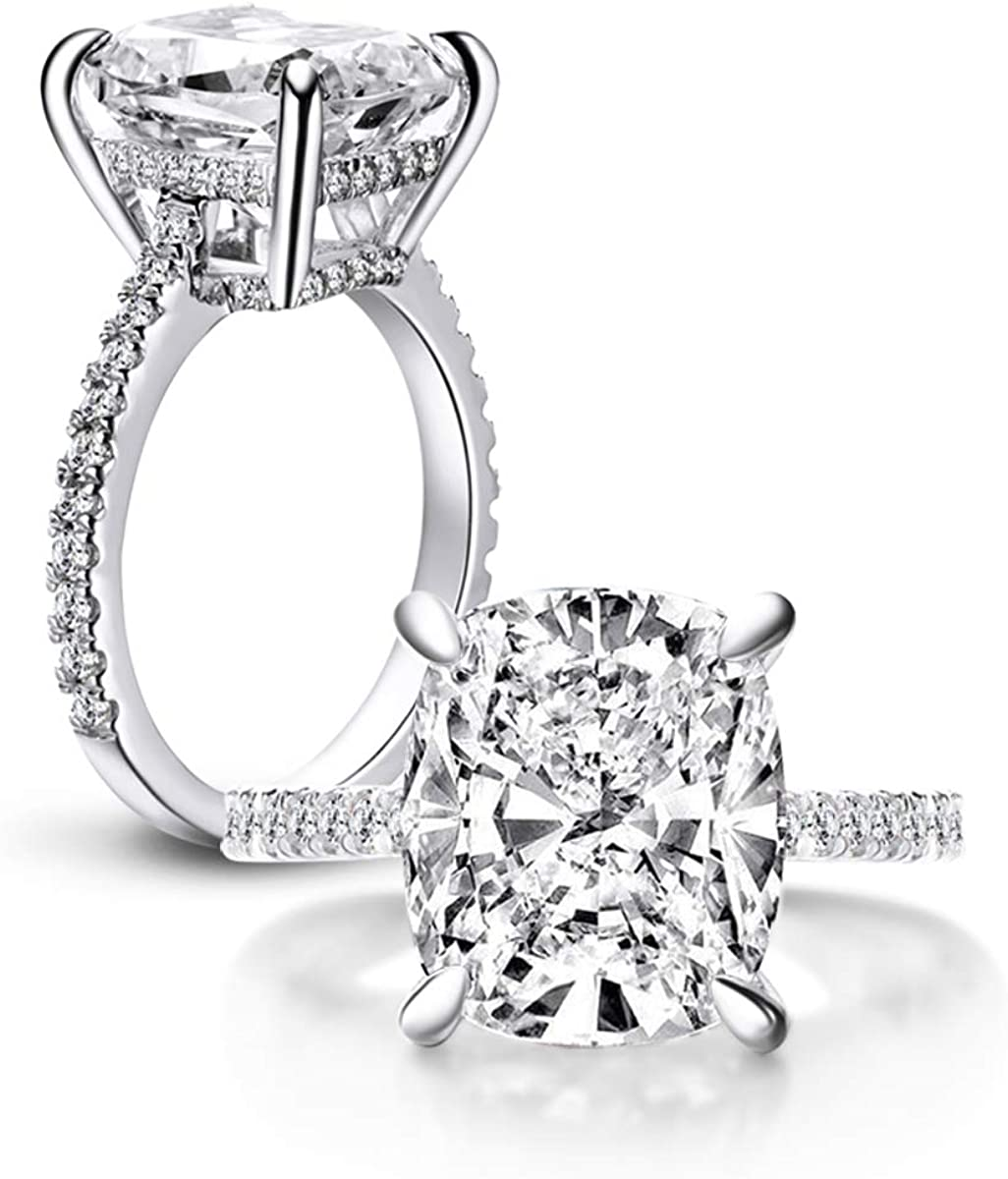 Online Jewelry 6.00 Ct Off White Cushion Cut Cubic Zirconia Diamond Three Stone Wedding Engagement Ring Size 7. 925 Sterling Silver