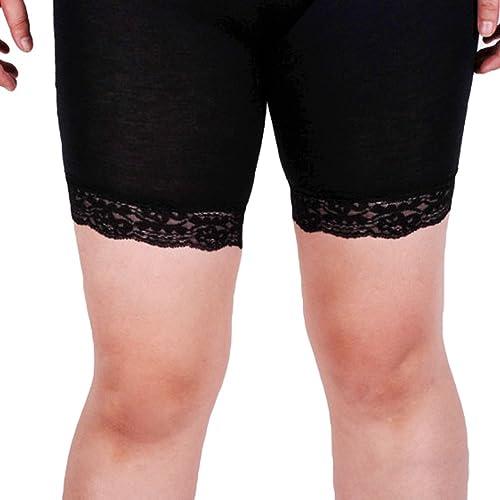 Yiiquan Mujeres Corto Polainas Cintura Alta Moda Entrenamiento Fitness Leggings Negro Cordón CN 3XL