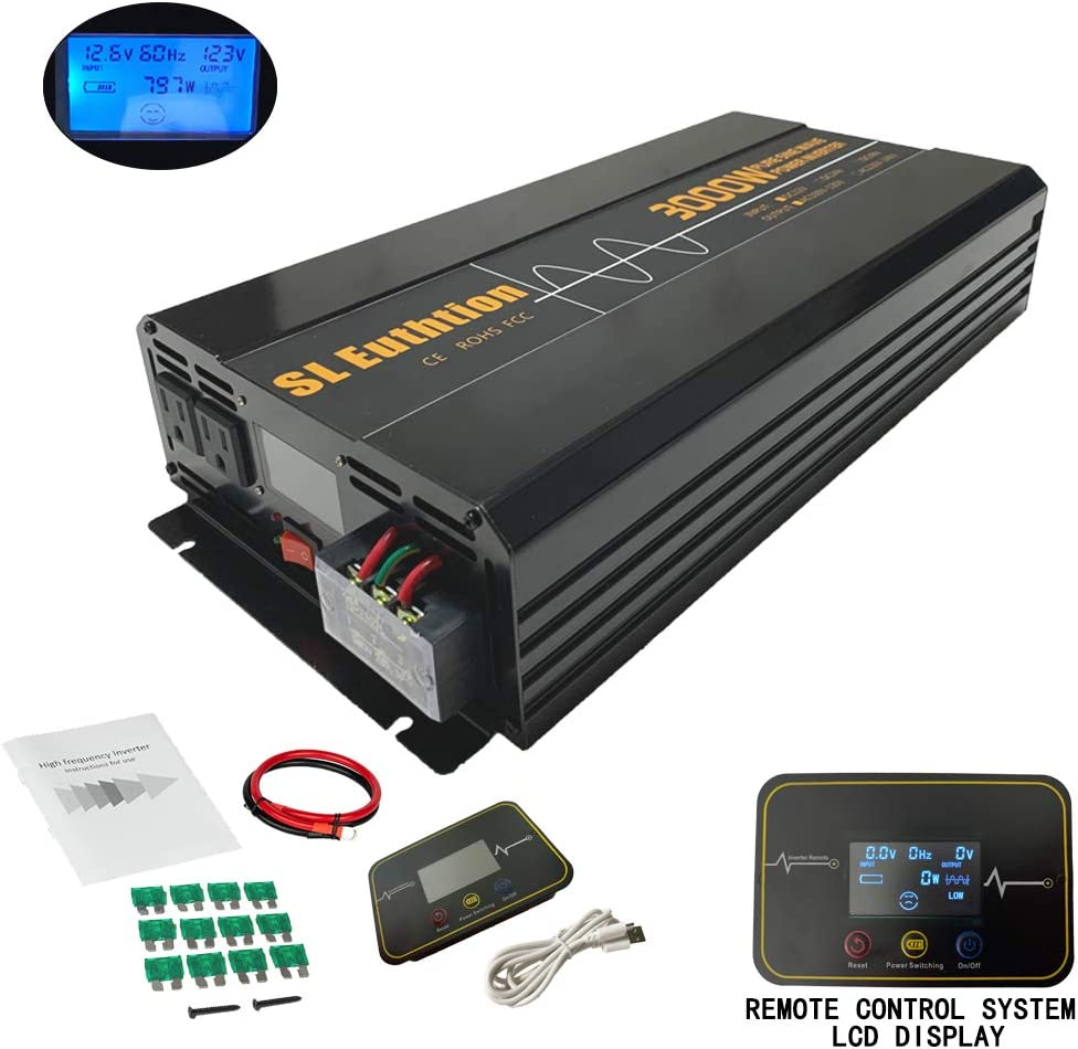 SL Euthtion 3000W Pure Sine Wave Power Inverter 12V DC to 120V AC 60HZ with LCD Display, USB Port, Remote Control Used in Cars, Solar, Outdoor