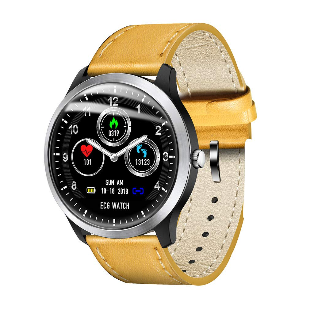 CSSD Smart Watch,Sports Watch N58 1.22Inch Waterproof Supports Running, Cycling, Swimming Fitness Tracker, Heart Rate Monitor, Calorie Consumption 3D UI Mens Smart Watch (Yellow)