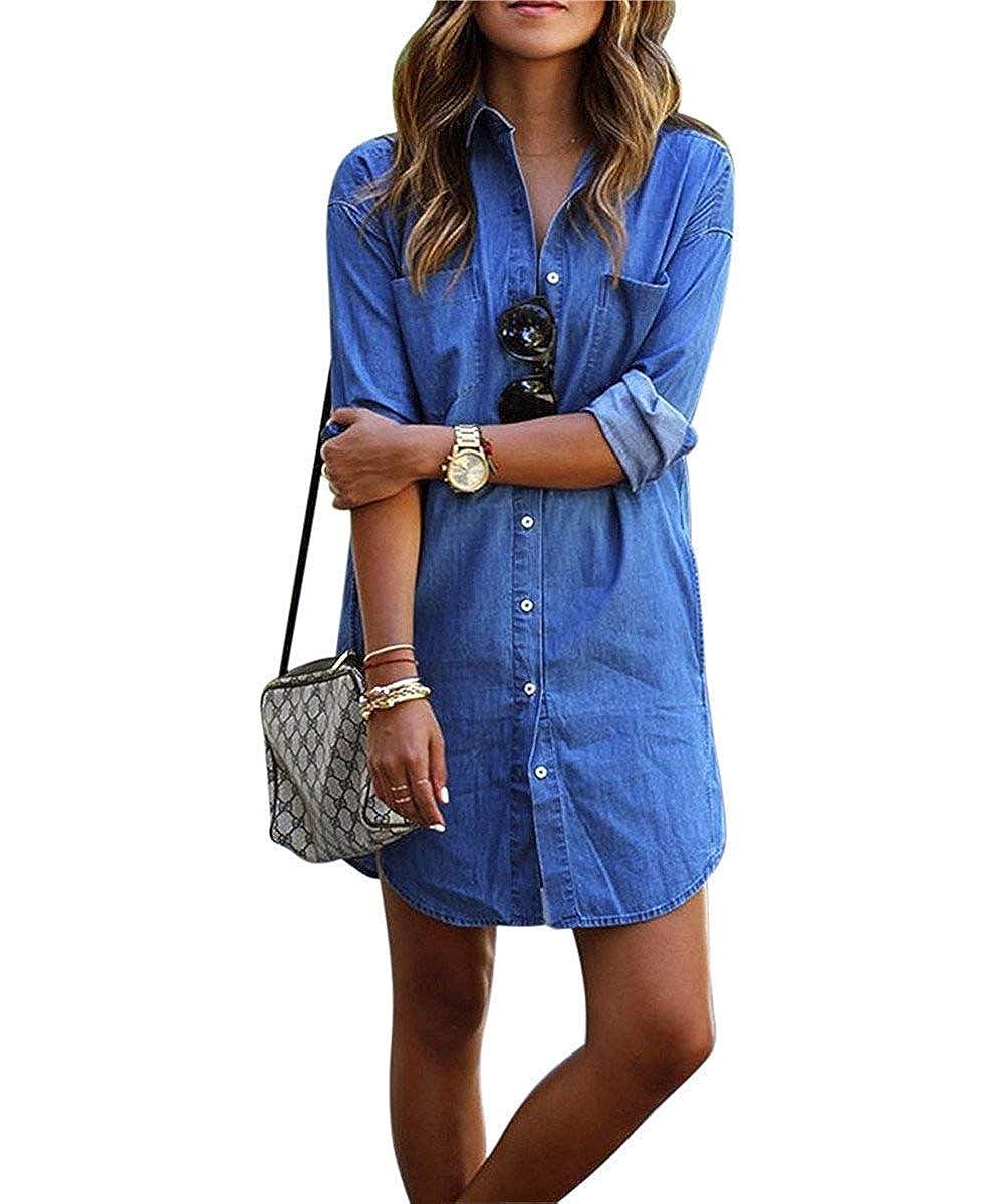 Denim Kleid Damen Minikleid Lässig Lose Jeanskleid Damen Kurz Jeans Festlich Bekleidung Hemdblusenkleid Tunika Jeansbluse