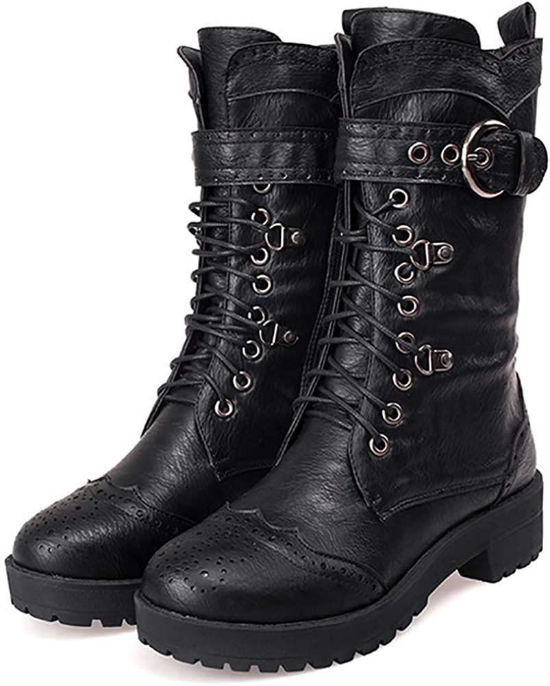 Odema Womens Round Toe Military Lace Up Low Heel Mid Calf Combat Boot