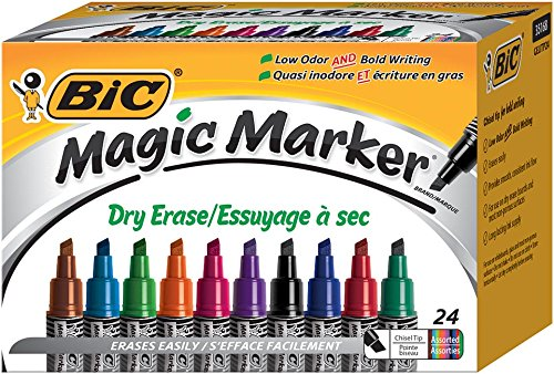 Magic Dry Erase Marker, Tank Chisel Tip 24-Count Box, Assorted (GELITP241-AST)