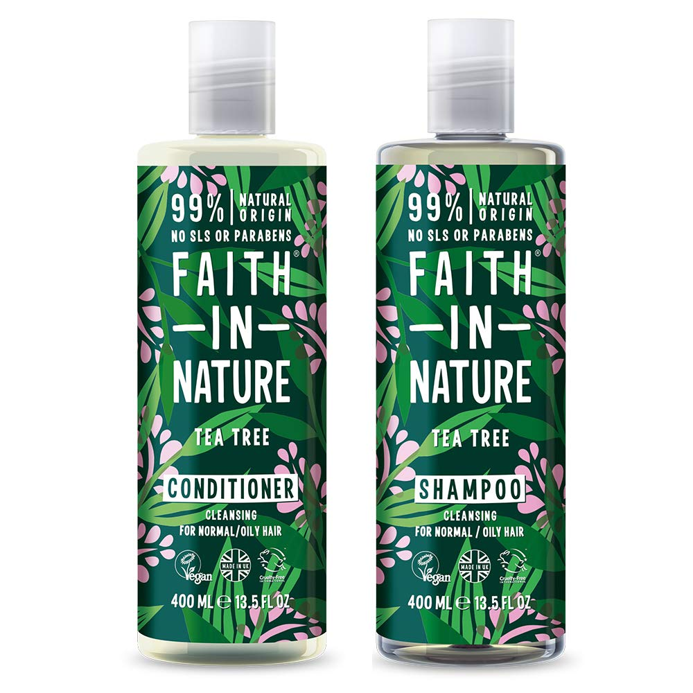 Faith In Nature Tea Tree Shampoo 400ml & Conditioner 400ml Duo | Vegan | Cruelty Free | 99% Natural Fragrance | Free From SLS or Parabens