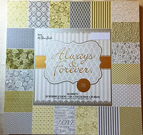Always & Forever 12x12 Foiled Silver,White, Gold Premium Wedding Cardstock Scrapbooking Paper Pad 60 Sheets ()