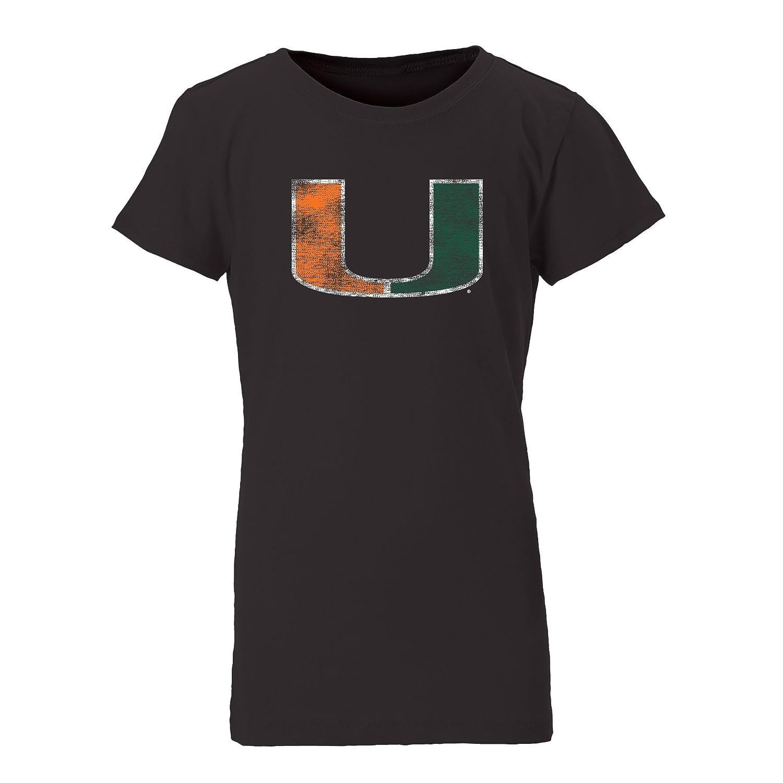 Ouray Sportswear NCAA Miami Hurricanes Womens Youth Princess Short Sleeve Tee Medium Black