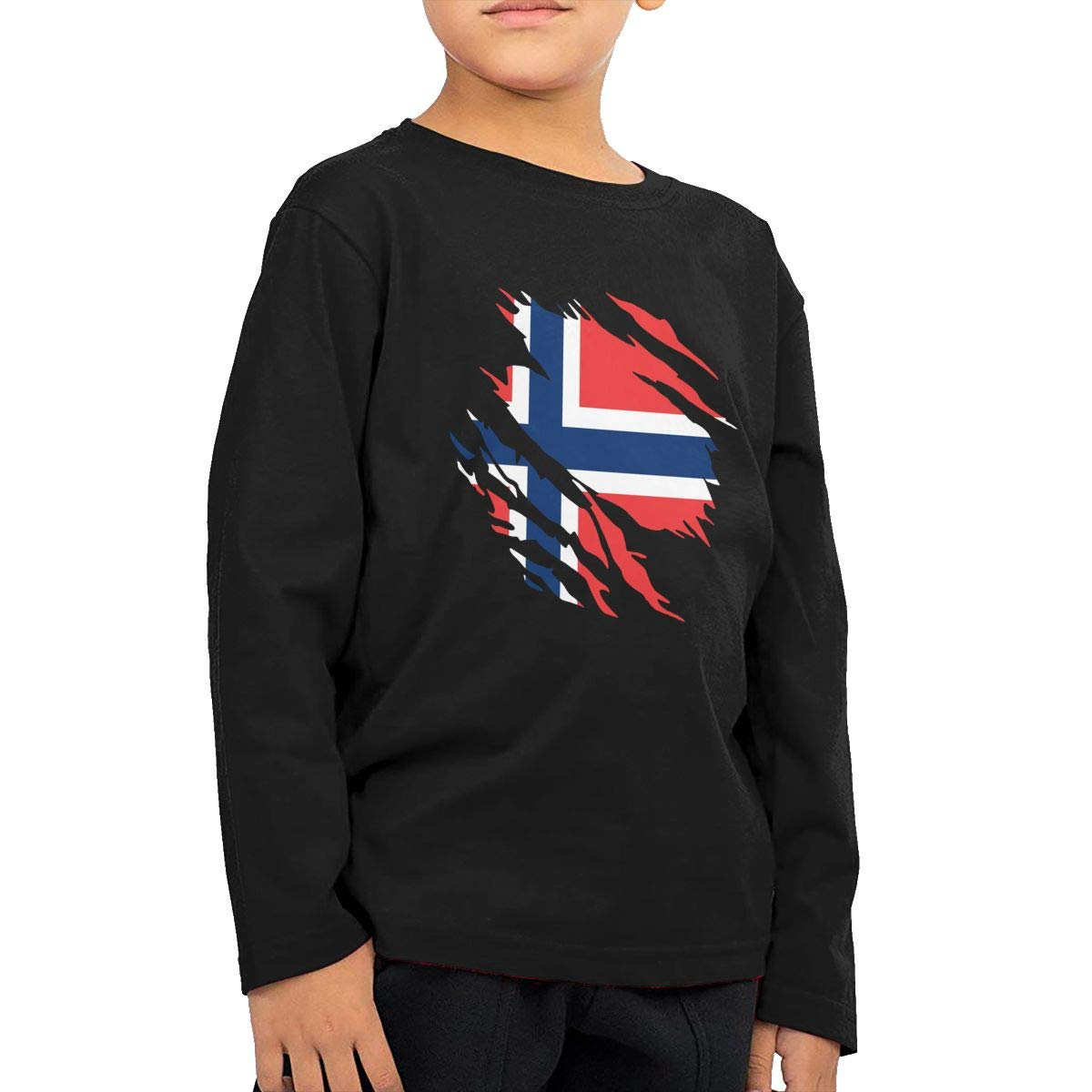 UGFGF-S1 Ripped Norway Flag Fashion Toddler Children Baby Boys Girls Long Sleeve Shirt Clothes