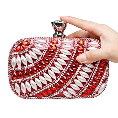 Houyazhan Diamantes Mujeres Las Nightclub Lujo Red Noche color Señora Bolso Embrague De YgrqYBF