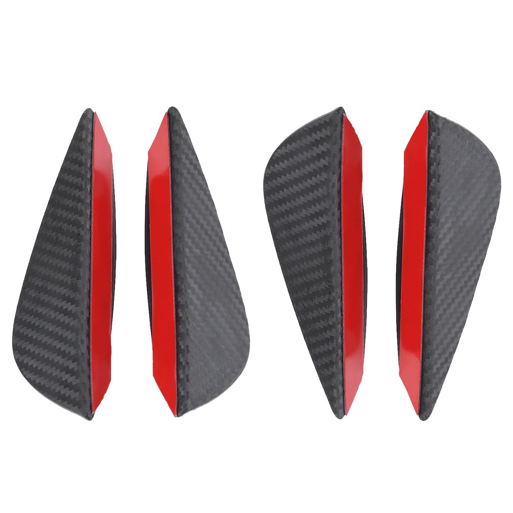 Qiilu 4Pcs Universal ABS Carbon Fiber Car Front Bumper Fins Lip Spoiler Canards Trim Kit