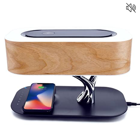 Wireless Charging Lamp [NO Speaker] Bedside Table Lamp, Cherry Tree Shade, 3 Level Dimmer, Touch Control Panel, Wireless Charging, Plug in Nightstand