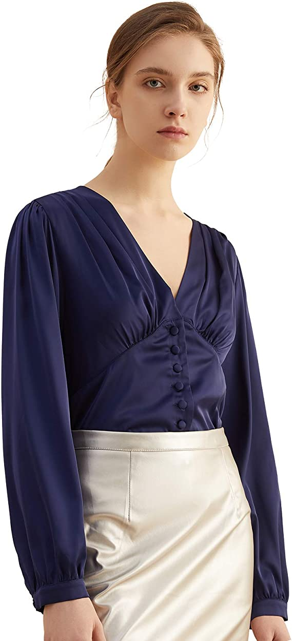 Meiliwanju Womens Satin Blouses Ladies Shirt Casual V Neck Long Sleeve Elegant Top Pullover