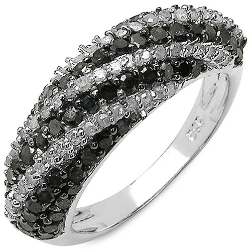 1.26 ct. t.w. Genuine Black and White Diamond Ring in Sterling Silver