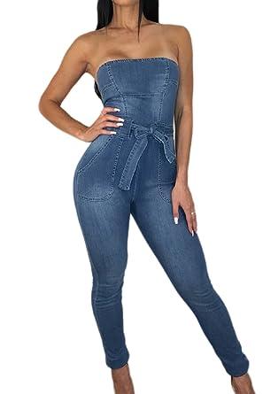 ec3d099d0a6 Amazon.com  Fanvans Womens Sexy Jumpsuit Deep V Button Down Wide Leg Denim  Rompers  Clothing