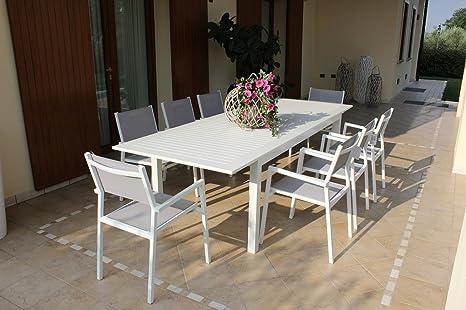 Amazon Offerte Tavoli Da Giardino.Tavolo Da Esterno Allungabile 220 280 X 100 Cm Con 4 Poltrone In