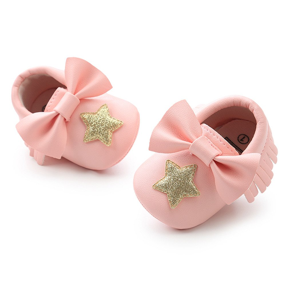 Baby Girls Toddler First Walkers Shoes Bowknot Moccasins Sequins Star Tassel Shoes Playing Crawling Leather Flats White, 12-18M