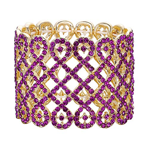 Love Austrian Crystal - EVER FAITH Women's Austrian Crystal Art Deco Love Knot Wide Stretch Bridal Bracelet Fuchsia Gold-Tone