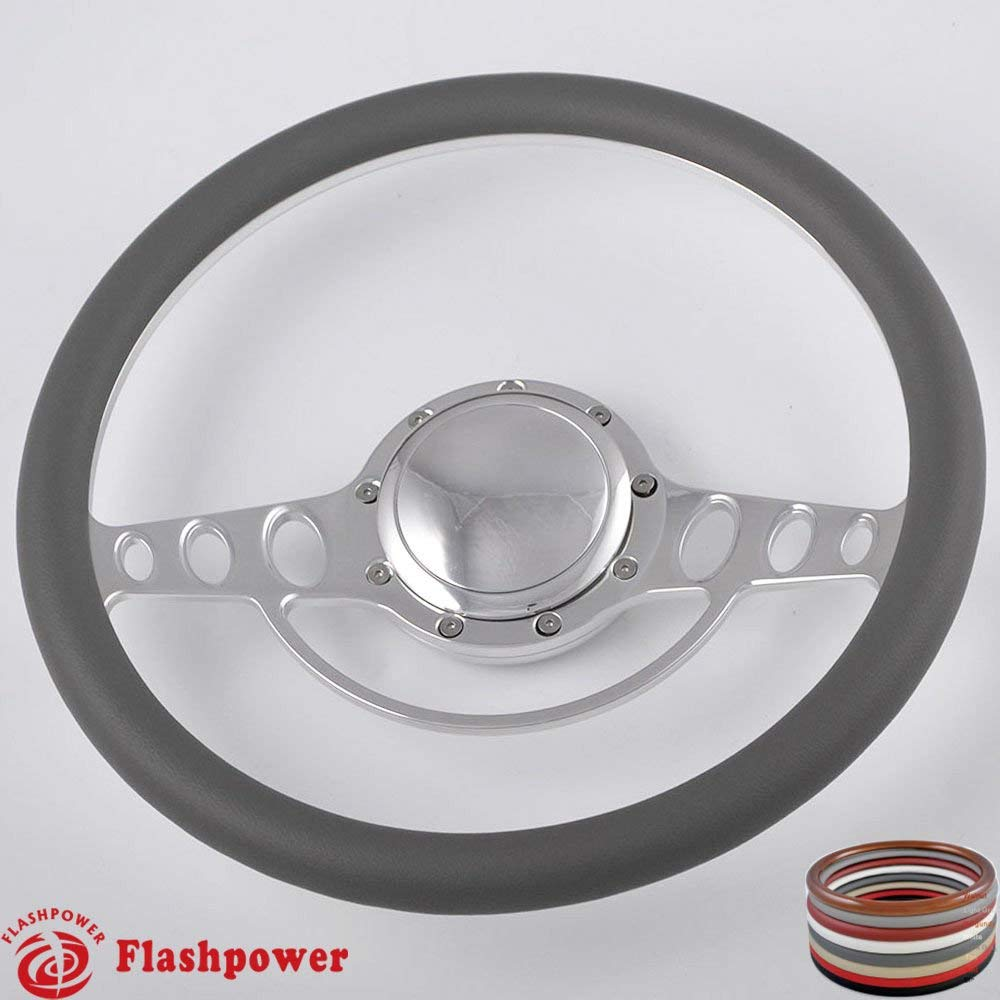 Flashpower 15.5 Billet Steering Wheel with Half Wrap and Horn Button-White