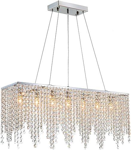 7PM Modern Linear Rectangular Island Dining Room Crystal Chandelier Lighting Fixture Medium L32
