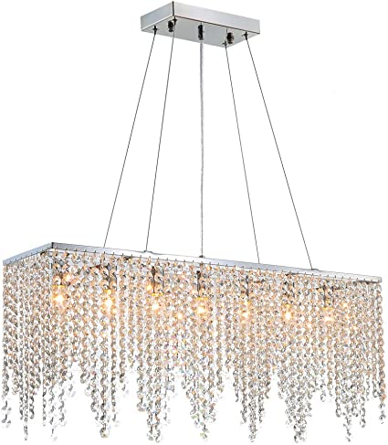 7PM Rectangular Crystal Chandelier Linear Hanging Light Fixture for Dining Room Kitchen Island