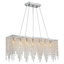 "7PM Modern Linear Rectangular Island Dining Room Crystal Chandelier Lighting Fixture (Medium L32"")"