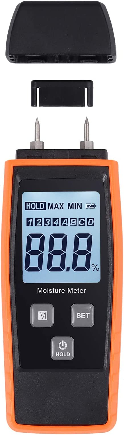 Kamtop Digital Wood Moisture Meter Portable Wood Moisture Meter with Large LCD Display for Detecting Firewood Leaks Cement