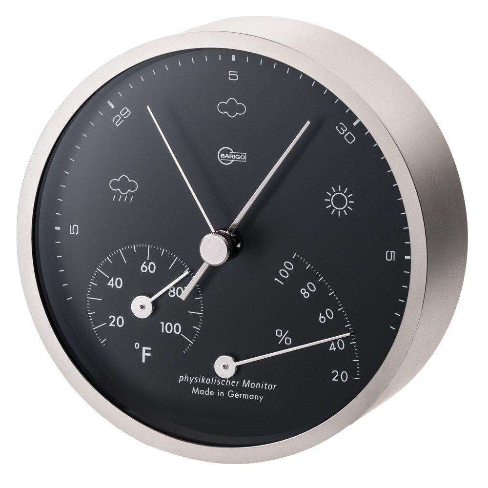 Barigo Pentable Series Barometer/Thermometer/Hygrometer - Wall Plated Nickel Housing - 4'' Black Dial