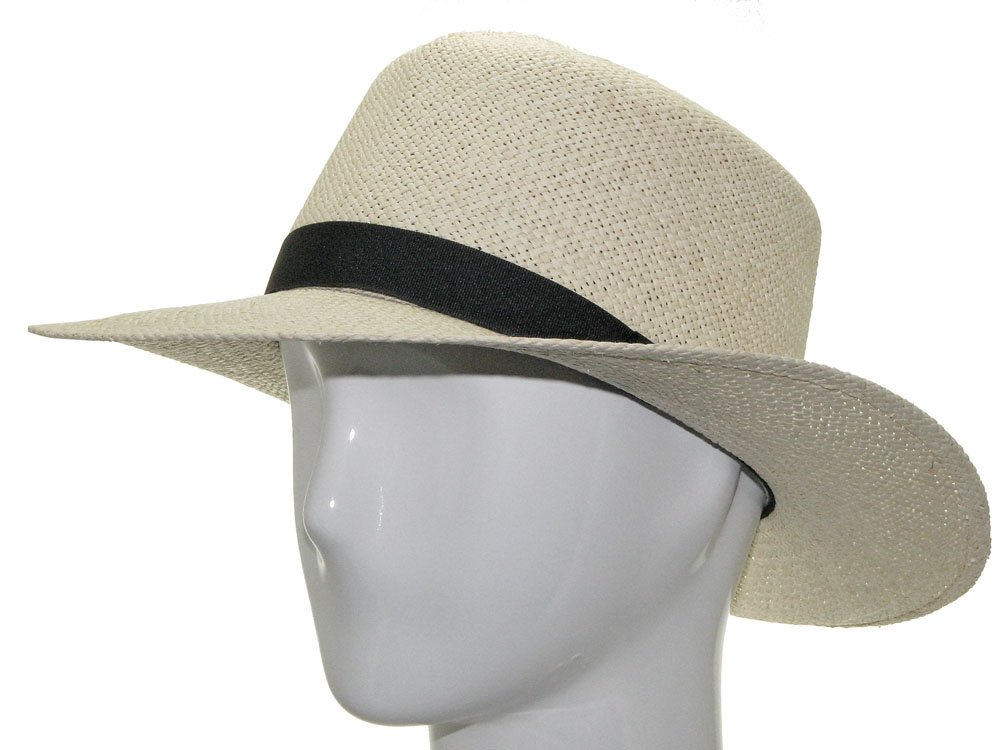 TRAVEL ROLLUP Packable Foldable Panama Natural Straw Hat 7 5/8