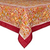 Couleur Nature Jardine Tablecloth, 71-inches by 128-inches, Red/Yellow
