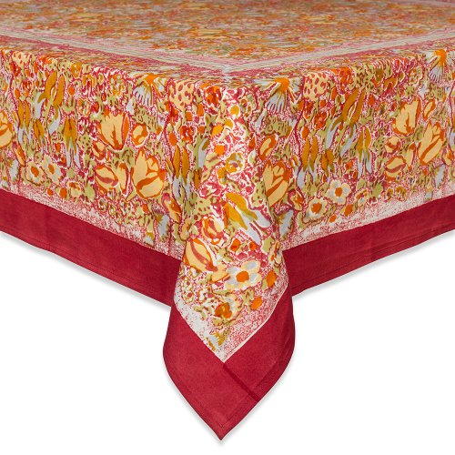 - Couleur Nature Jardine Tablecloth, 59-inches by 86-inches, Red/Yellow