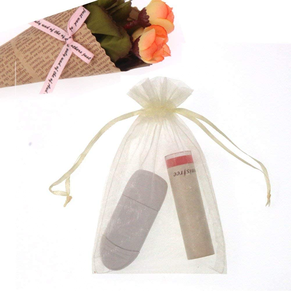 SumDirect Lot de 50 pochettes en organza transparent avec cordon de serrage Motif roses blanches 10 x 12 cm blanc