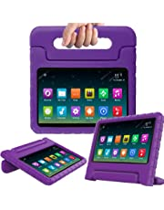 Surom Kids Case Compatible A m a z o n F i r e 7 2017,ShockProof LightWeight Convertible Handle Stand Protection Cover for kids F i r e 7 Inch Display Tablet (7th Generation,2017 Release), Purple