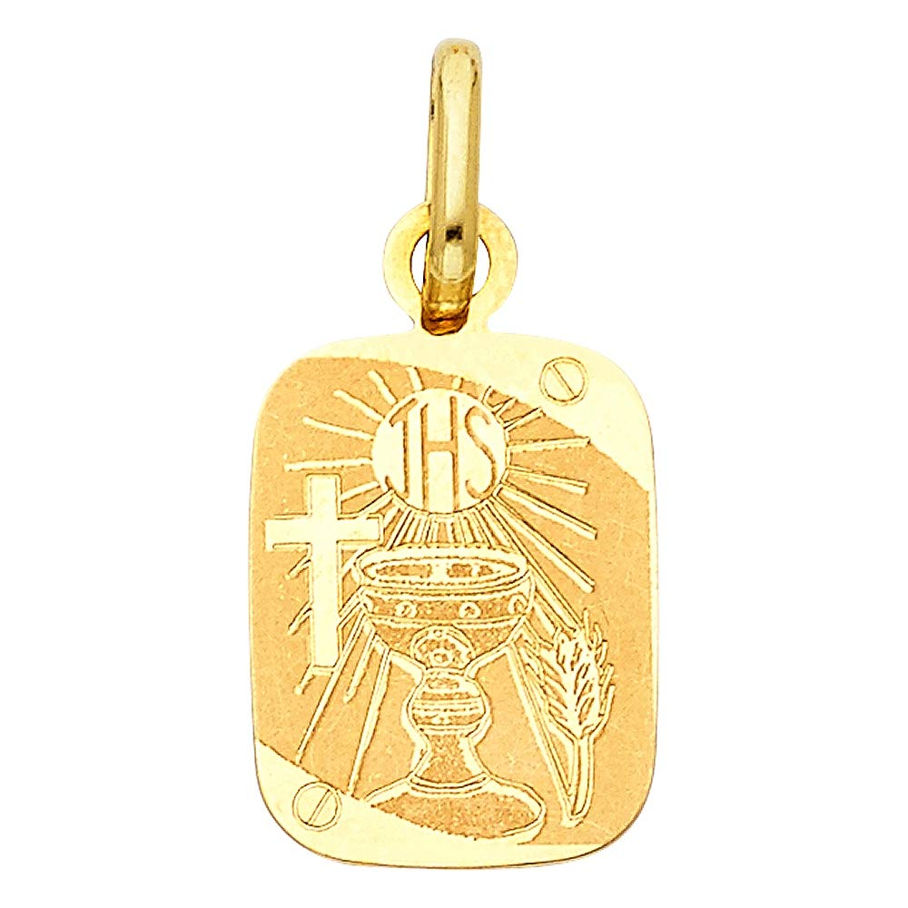 Wellingsale 14K Yellow Gold Polished Religious Communion Charm Pendant