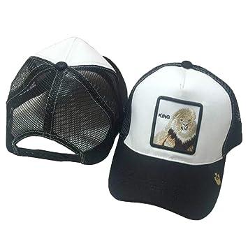 chenpaif Unisex Animales Bordado Parche Gorra de béisbol Hip Hop Snapback Malla Trucker Hat 3# León + Blanco y Negro: Amazon.es: Hogar