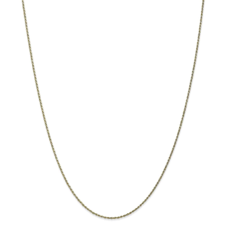 10k Yellow Gold 1.1mm Machine-made Diamond-cut Rope Chain Bracelet 7-24