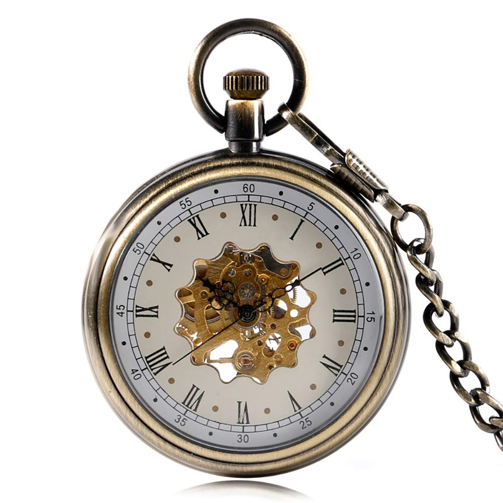 Transparent Skeleton Pocket Watch, Antique Hand Winding Mechanical Pocket Watch, Unique Guft for Men