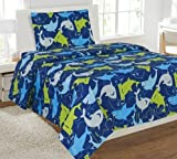 Fancy Linen Collection Twin Size 3 PC Sheet Set Shark Dark Blue Yellow grey New # Shark Dark blue