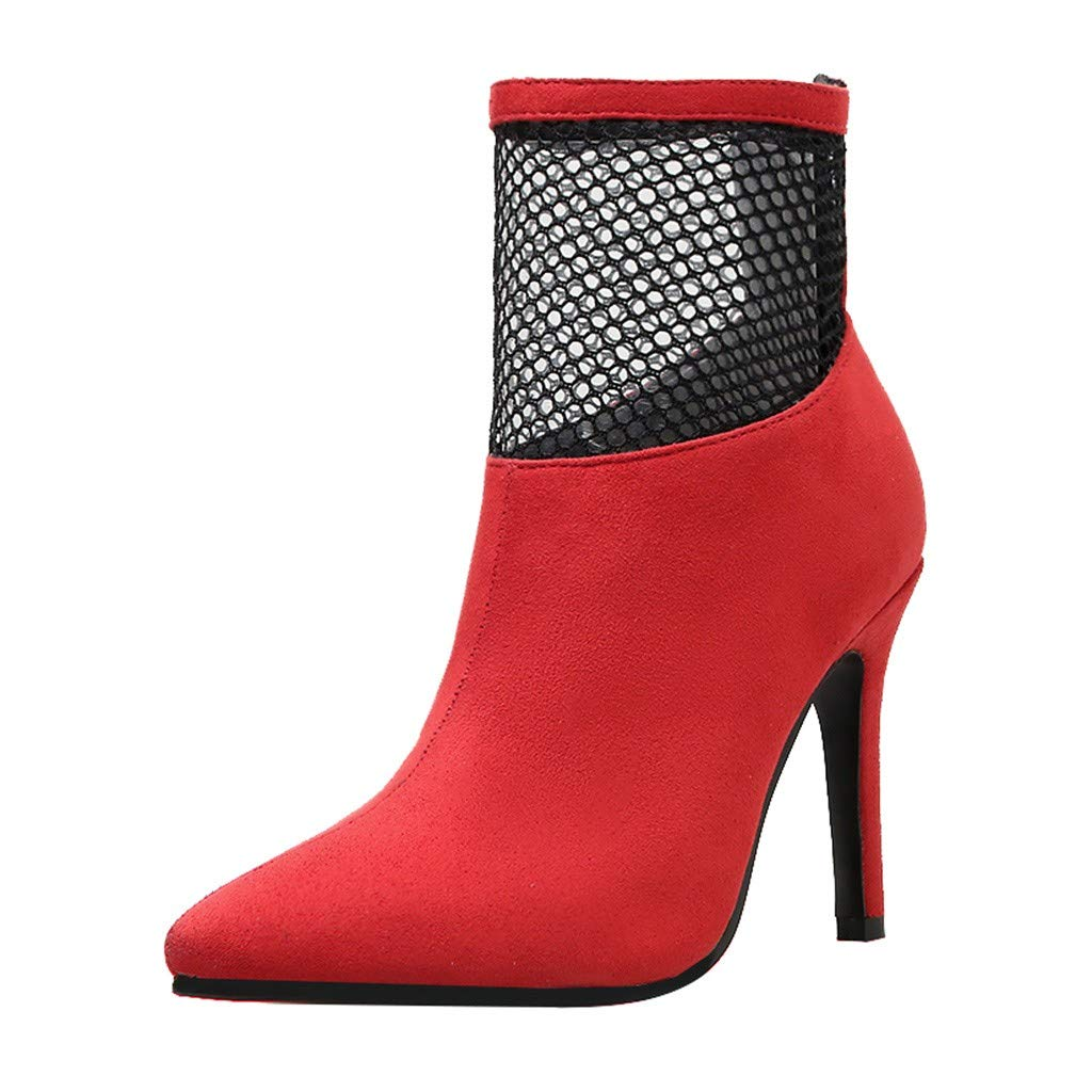 Clearance! Swiusd Womens Stiletto Booties Trendy Mesh Patchwork High Thin Heel Boots Retro Pointed Toe Zip Closure Single Shoes (Red, 5.5 M US)