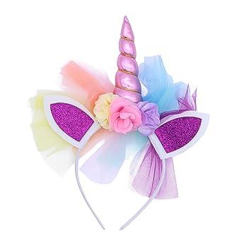 LUOEM Diadema cuerno de unicornio niñas Diadema unicornio diadema Cumpleaños Flor colorida Hheadwear para niños Adultos disfraces cosplay o decoración ...