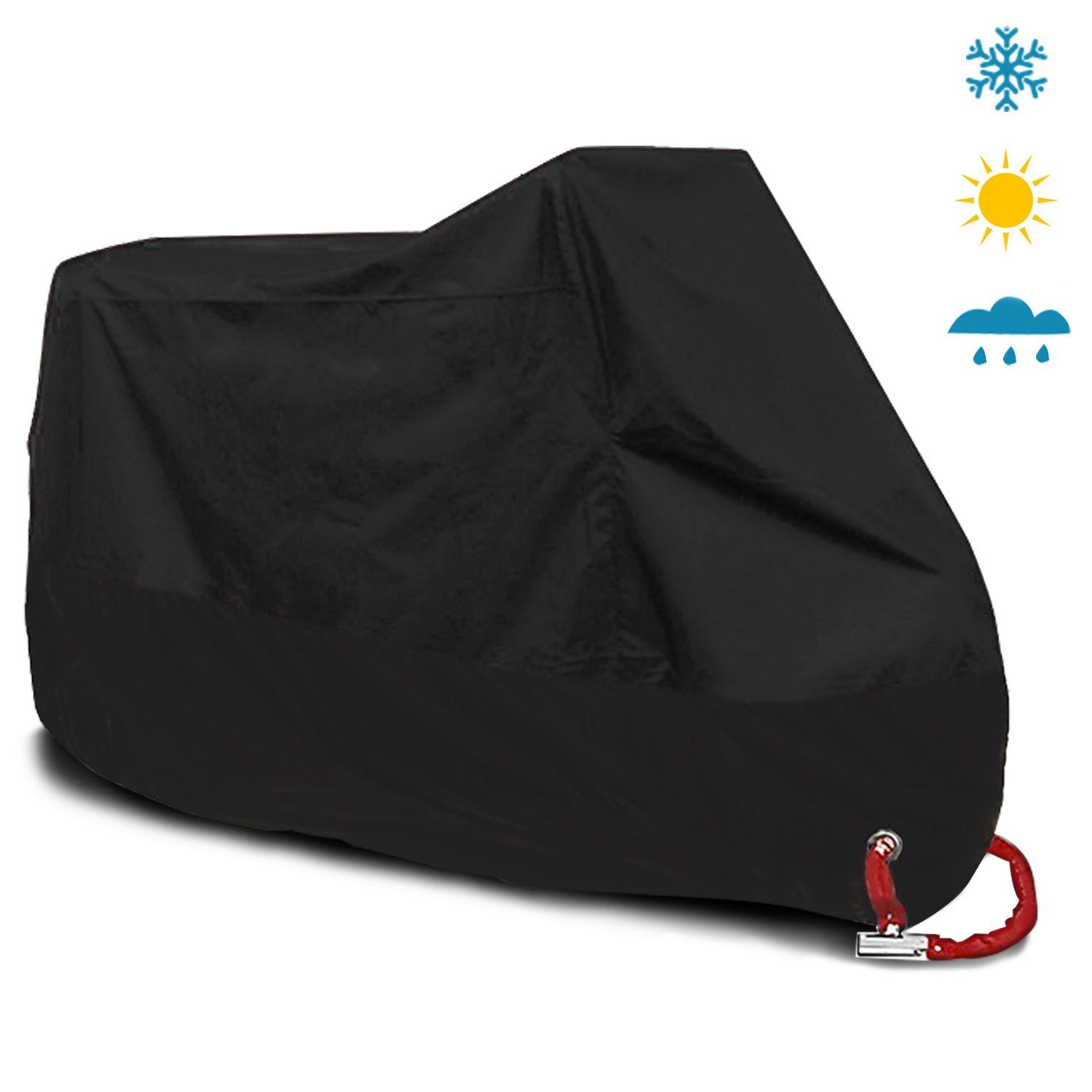 Kingwon Extra Large Motorbike Indoor Outdoor Cover 420D Nylon Waterproof Heavy Duty Anti Rain Dust Protection UV Cover with Lock-hole and Storage Bag, Fit Cruiser Yamaha Harley Honda BMW Suzuki, 265 x 105 x 125cm, Black Kingwon Tech