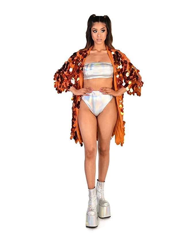 ce49858f4 iHeartRaves Women's Sequin Kimono & Sparkle Duster Fashion Cover Ups at  Amazon Women's Clothing store: