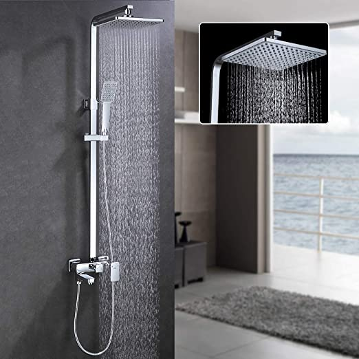 Auralum - Columna de ducha sistema con barra, efecto lluvia ...