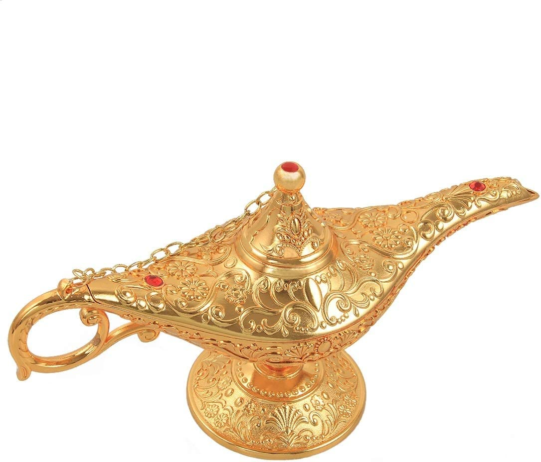 kilofly Aladdin Costume Prop Vintage Table Decor Large Decoration Genie Lamp