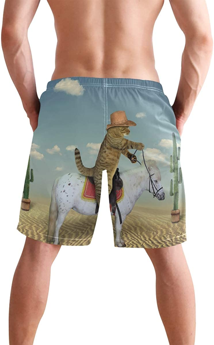 HZamora/_H Men Cowboy Cat Summer Breathable Quick-Drying Swim Trunks Beach Shorts Board Shorts