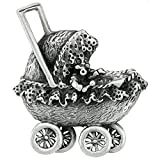 Sterling Silver Baby Carriage Brooch Pin, 1 13/16 inch