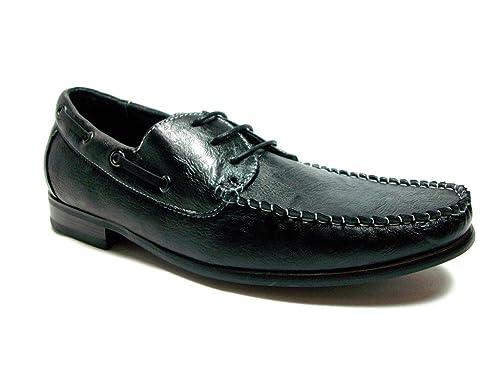 Ferro Aldo Mens 19213-Black Casual Boat Style Moccasins, Black, ...