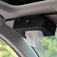 KolorFish PU Leather, Multi-use Back Seat Headrest Hanging Tissue Holder for Car (Black)