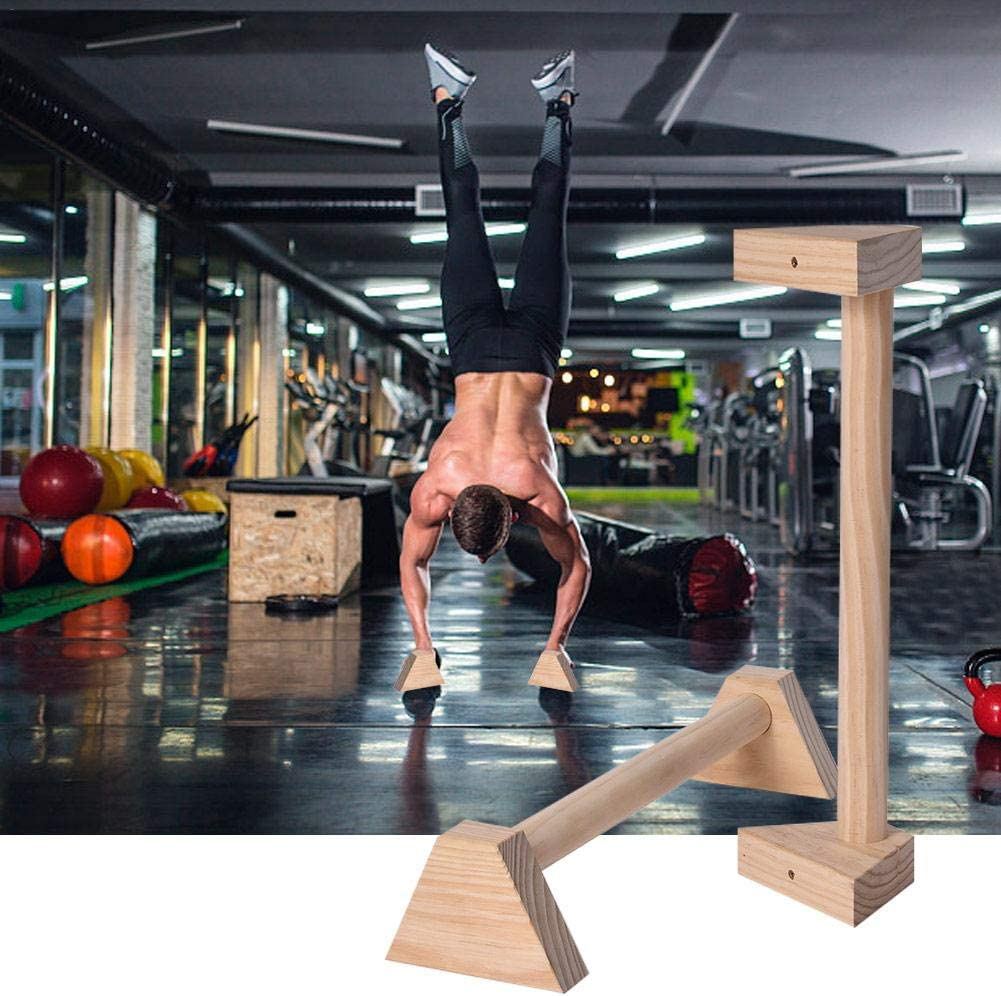 chlius 1 Pair Of Wooden Push-Ups Stand 25CM //50CM Double Rod Handstand Bars With Ergonomical Non-slip Handl Wood Parallettes Calisthenics Gymnastics Strength Training For Arm Chest Muscle Training