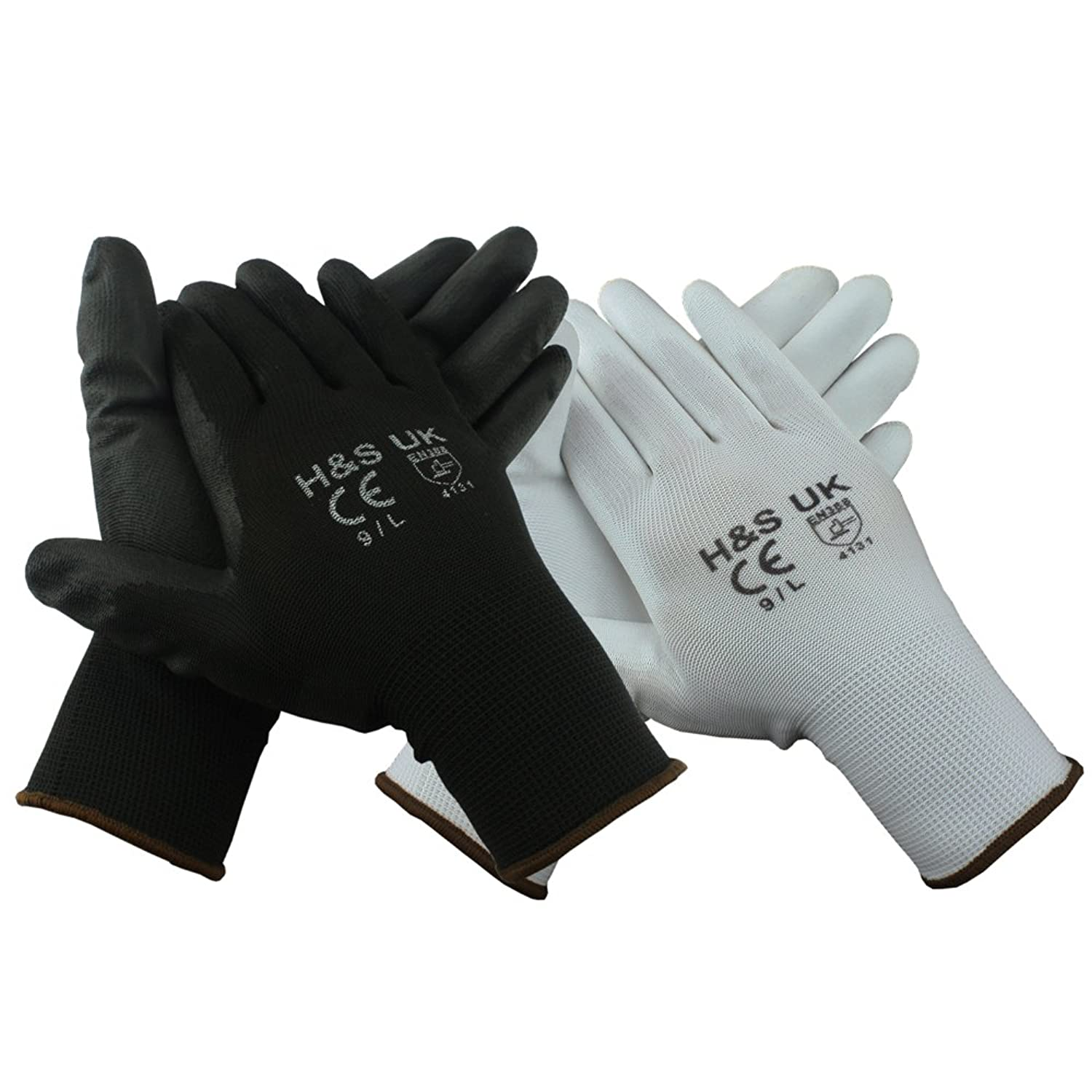 Black gardening gloves - H S 12 Pairs High Quality Black Nylon Pu Safety Work Gloves Builders Grip Gardening Black