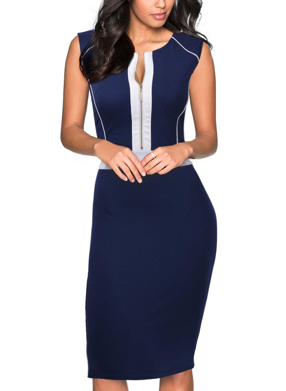 Miusol Women's Formal Scoop Neck Optical Illusion Fitted Bodycon Pencil Dress,Navy Blue,Medium
