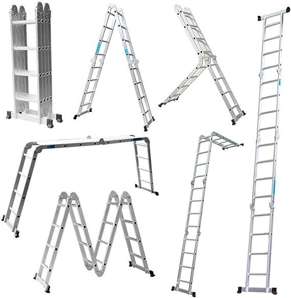DELOVE - Escalera Plegable Multiusos de 4,7 m con Plataforma de 4 x 4 peldaños, Escalera de Aluminio multifunción 6 en 1 Escalera Escalera de Escalera de Aluminio: Amazon.es: Hogar